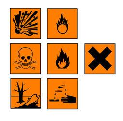 Hier können Sie die alten Gefahrensymbole sehen. Sie wurden durch die neuen GHS Symbole abgelöst.